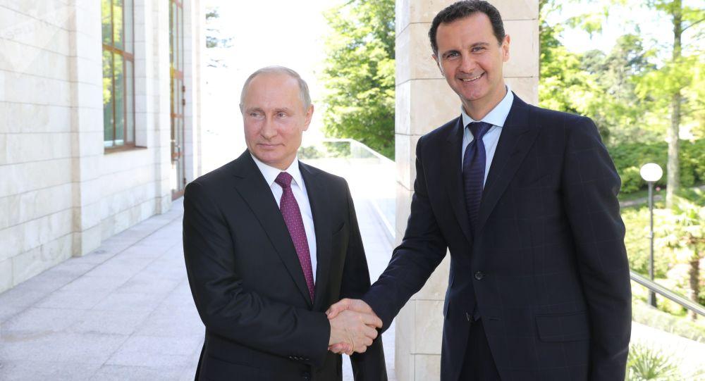 Prezydent Federacji Rosyjskiej Władimir Putin i prezydent Syryjskiej Republiki Arabskiej Baszar al-Assad w Soczi