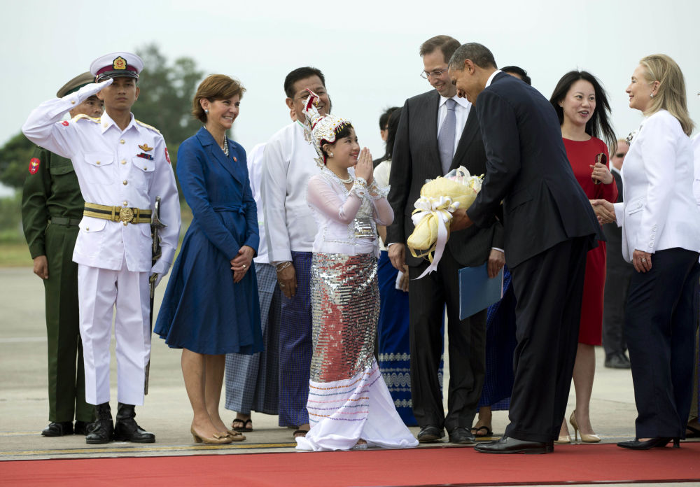 Prezydent USA Barack Obama i Hillary Clinton. Mjanma, 2012 rok