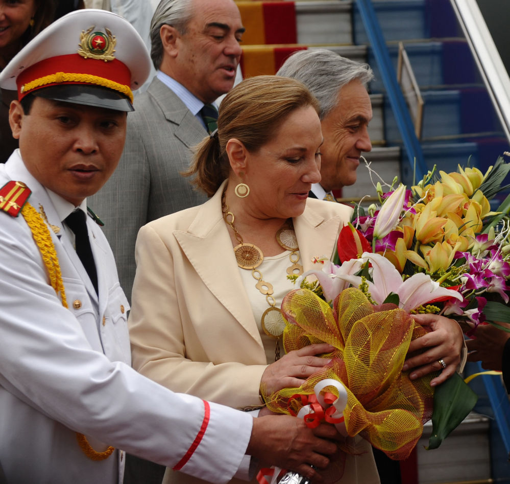 Prezydent Chile Sebastian Pinera Echenique z żoną podczas wizyty w Wietnamie, 2012 rok