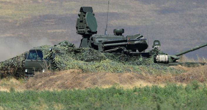 Zestaw przeciwlotniczy Pancyr-S1 na poligonie Kadamowski w obwodzie rostowskim