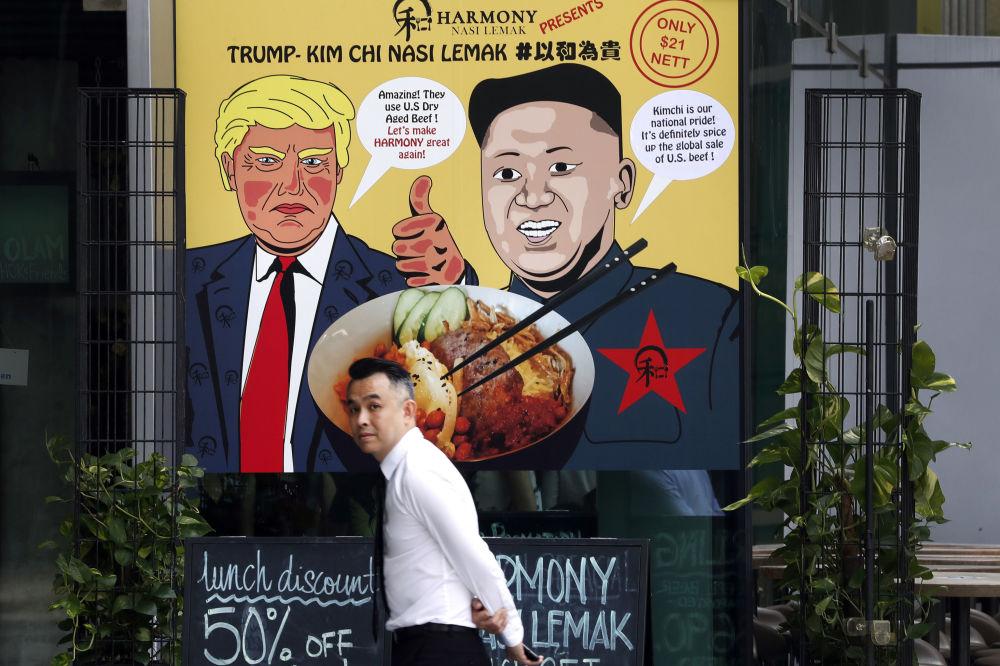 Plakat przedstawiający Donalda Trumpa i Kim Dzong Una w Singapurze