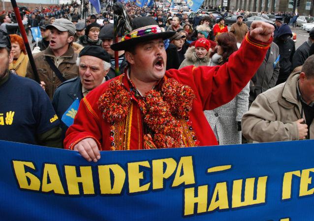 Podczas marszu nacjonalistów na cześć rocznicy Ukraińskiej Powstańczej Armii, który odbył się w Kijowie
