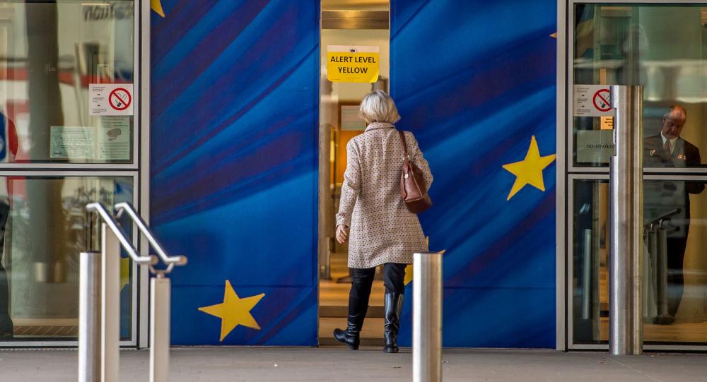 Wejście do budynku Komisji Europejskiej w Brukseli