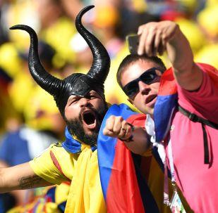Kolumbijscy kibice na meczu Kolumbia-Japonia etapu grupowego MŚ 2018 w Rosji