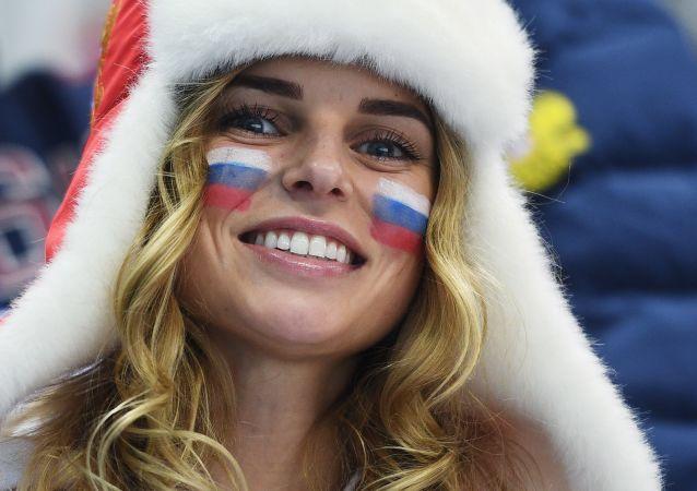Rosyjska kibicka na Olimpiadzie