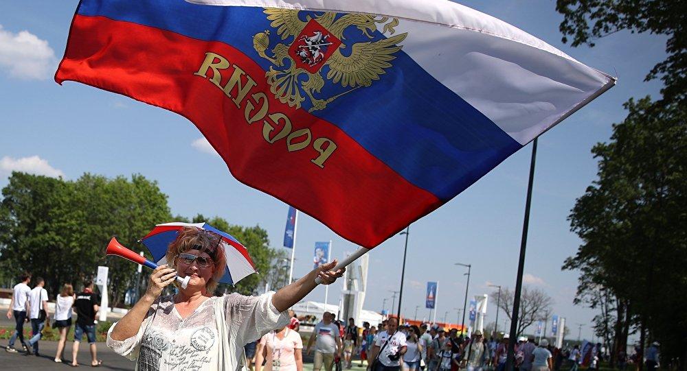 Kibice przed meczem Urugwaj-Rosja