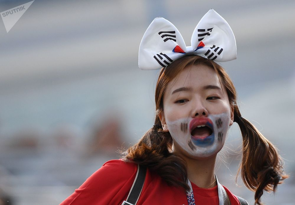 Koreańska kibicka na meczu ze Szwecją