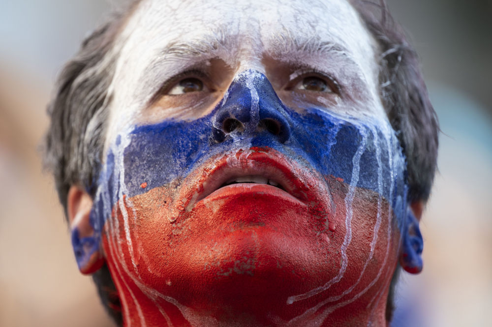 Kibic reprezentacji Rosji podczas meczu MŚ 2018 Urugwaj-Rosja