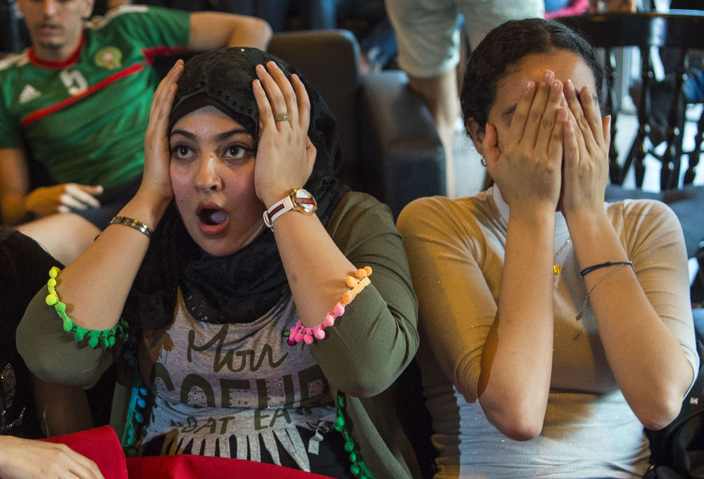 Kibice reprezentacji Maroka oglądają mecz MŚ 2018 w Rosji