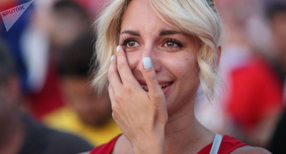 Kibice rosyjskiej reprezentacji po wygranym meczu z Hiszpanią