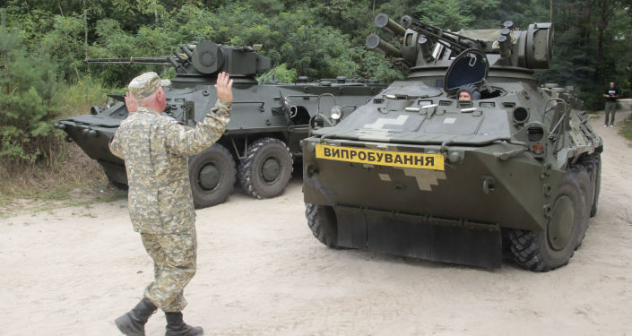 Ukraiński transporter opancerzony w Kijowie