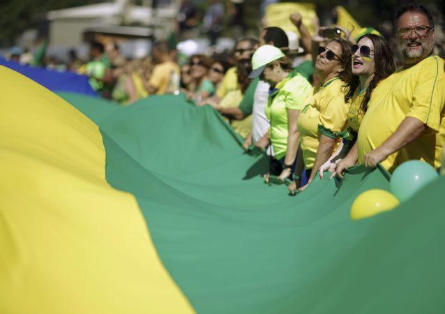 Uczestnicy akcji protestacyjnej w Brazylii