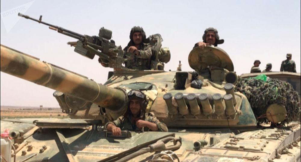 Syryjskie wojska na granicy z Jordanią w prowincji Dera