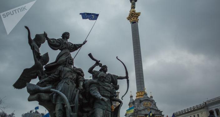 Akcja wsparcia integracji europejskiej Ukrainy na Placu Niepodległości w Kijowie