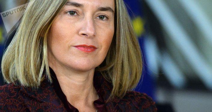 Wysoki Przedstawiciel Unii Europejskiej ds. Zagranicznych i Polityki Bezpieczeństwa Unii Europejskiej Federica Mogherini na szczycie UE w Brukseli