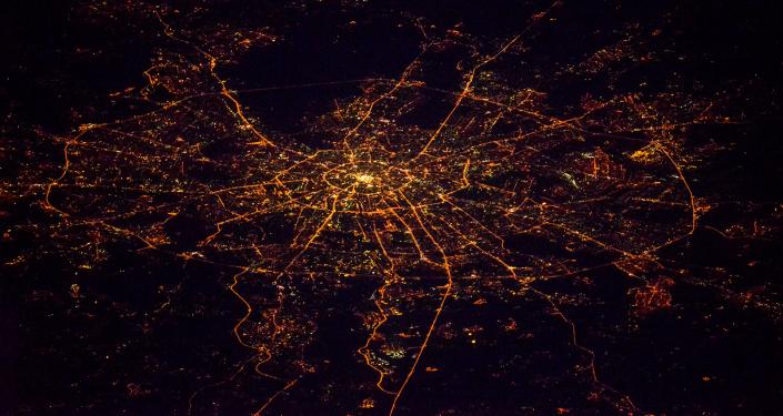 Widok na nocną Moskwę z kosmosu