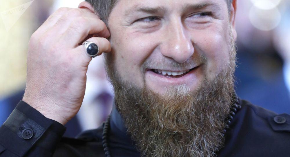 Głowa Republiki Czeczeńskiej Ramzan Kadyrow przed rozpoczęciem ceremonii inauguracji prezydenta Rosji Władimira Putina na Kremlu