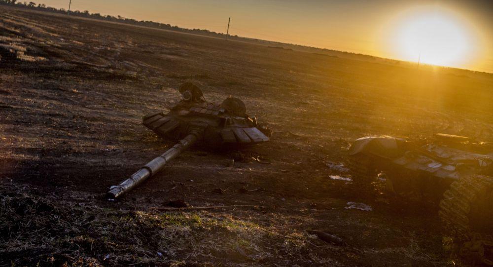 Spalony sprzęt wojskowy na Ukrainie