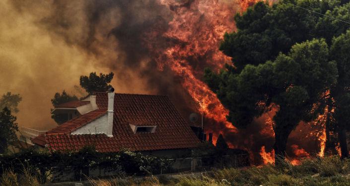 Pożary niedaleko Aten