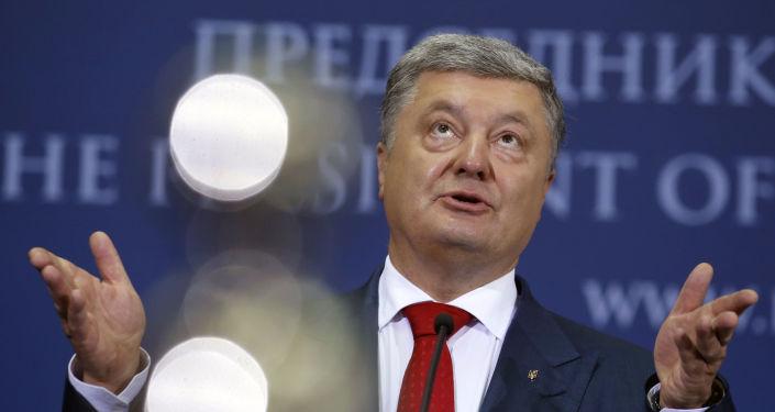 Prezydent Ukrainy Petro Poroszenko na konferencji prasowej w Belgradzie, Serbia