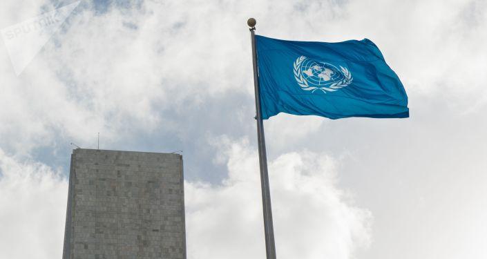 Flaga przed siedzibą ONZ w Nowym Jorku