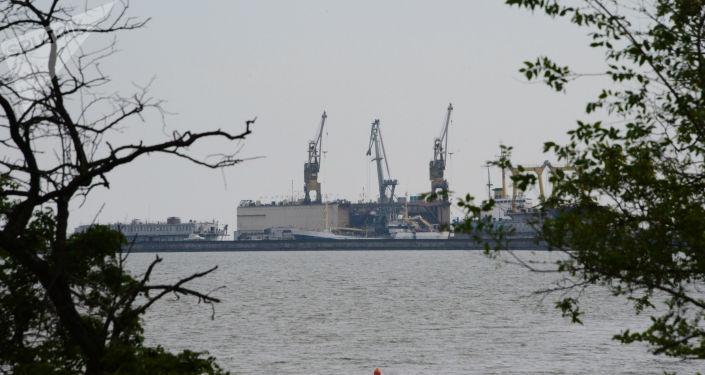 Widok na port Mariupol, Ukraina