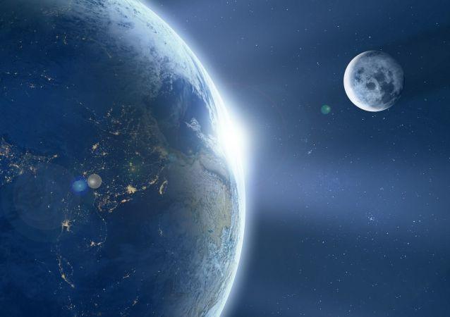 Widok na Ziemię i Księżyć z kosmosu