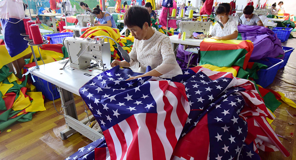 Chińska fabryka szyjąca flagi