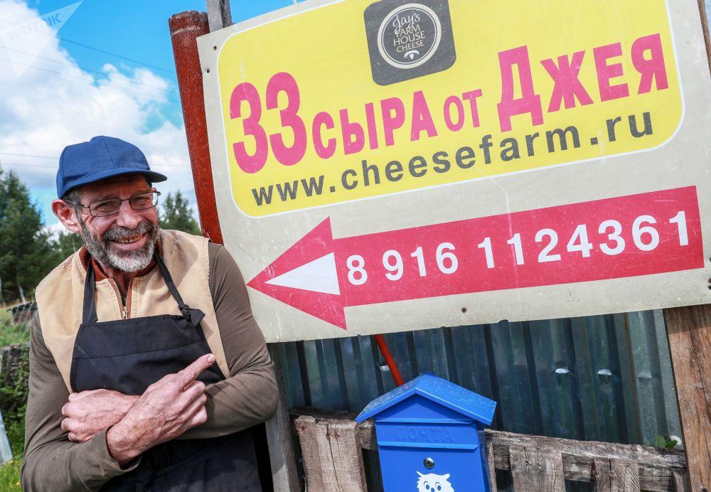 Amerykanin Jay Robert Close na własnej farmie we wsi Mosznicy pod Moskwą
