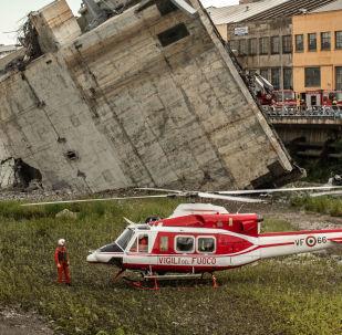 Miejsce, gdzie doszło do zawalenia się wiaduktu Morandi w Genui
