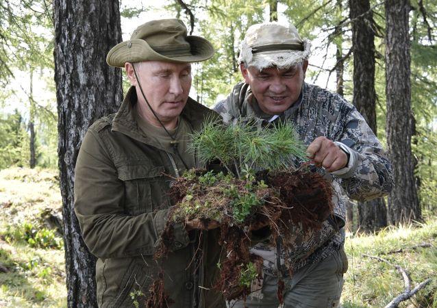 Prezydent Rosji Władimir Putin i minister obrony Siergiej Szojgu podczas wakacji nad Jenisejem w Republice Tywy