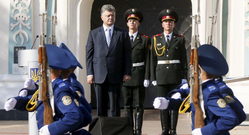 Prezydent Ukrainy Petro Poroszenko na obchodach Dnia Niepodległości