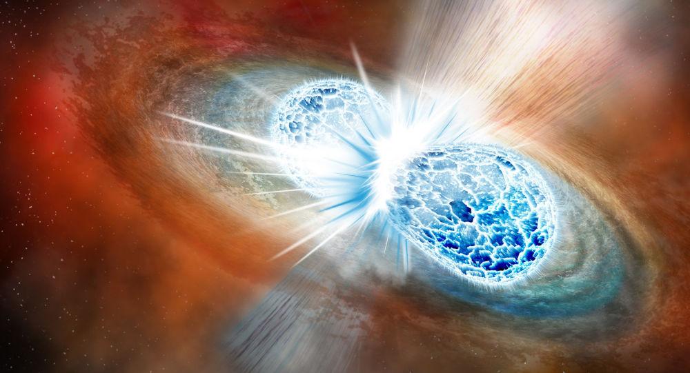 Zderzenie i połączenie dwóch gwiazd neutronowych zaprezentowane przez artystę