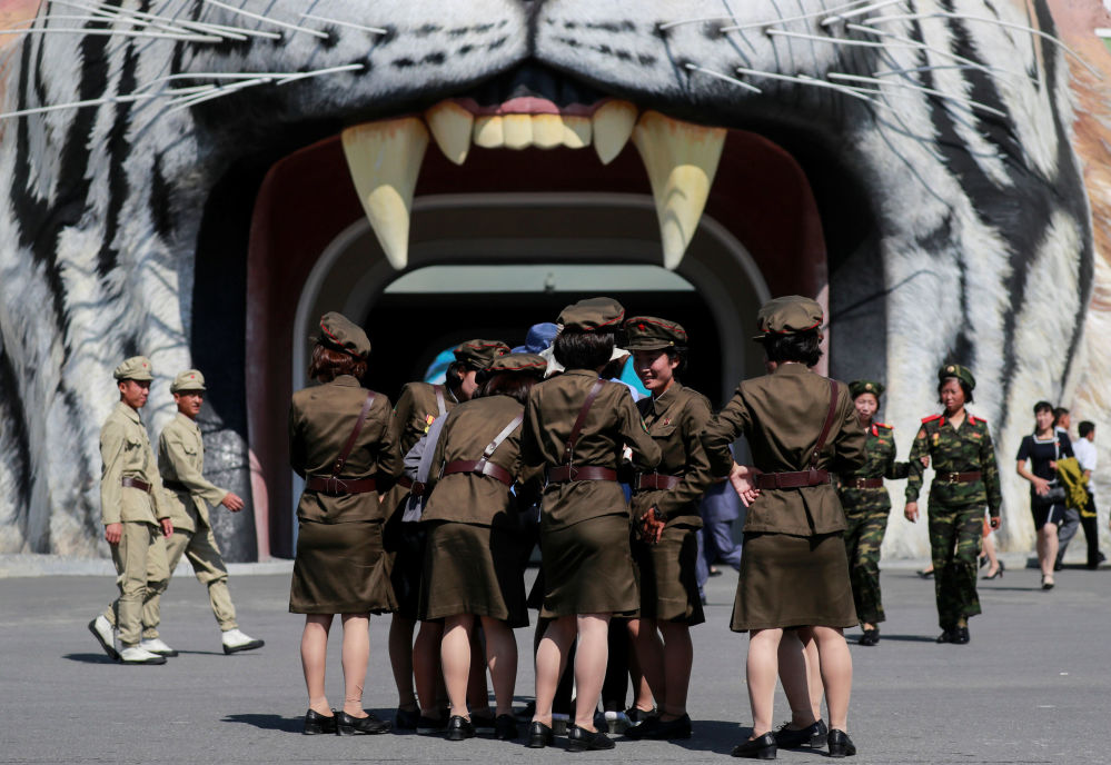 Żołnierki odwiedzają Muzeum Historii Naturalnej w Pjongjangu