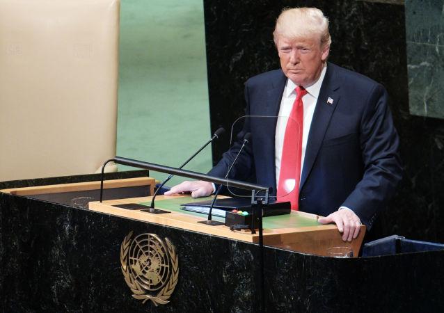 Prezydent USA Donald Trump występuje na Zgromadzeniu Ogólnym ONZ w Nowym Jorku