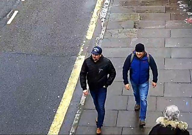 Zdjęcie Aleksandra Pietrowa i Rusłana Boszyrowa podejrzewanych przez policję Londynu o otrucie Siergieja i Julii Skripal na ulicy Fisherton Road w Salisbury