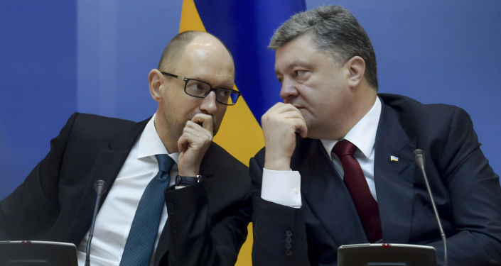 Premier Ukrainy Arsenij Jaceniuk i prezydent Ukrainy Petro Poroszenko