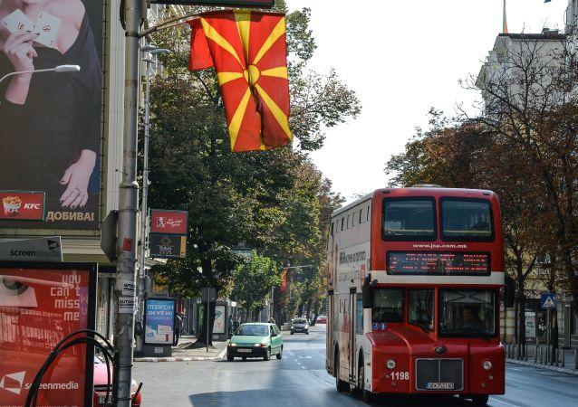 Ulica w Skopje w dzień referendum