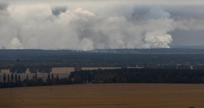 Pożar w magazynie z amunicją pod Czernihowem na Ukrainie