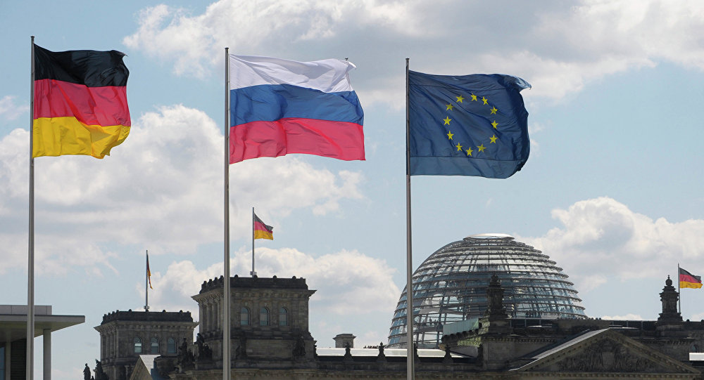 Flagi Niemiec, UE i Rosji