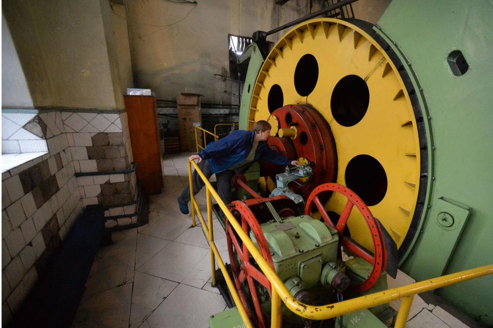 Maszyna wyciągowa w kopalni imienia S.P. Tkaczuka w Charcyźku na Donbasie