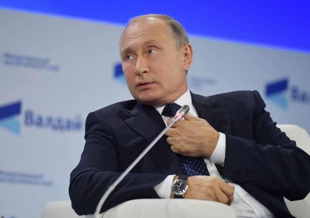 Prezydent Rosji Władimir Putin na posiedzeniu klubu Wałdaj