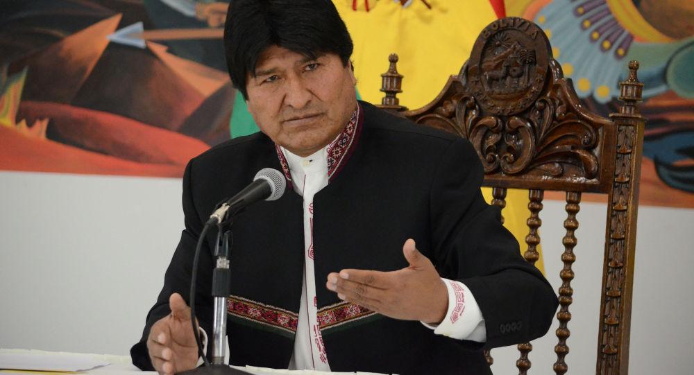 Prezydent Boliwii Evo Morales na konferencji prasowej