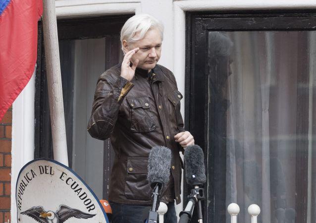 Współzałożyciel WikiLeaks Julian Assange na balkonie ambasady Ekwadoru w Londynie