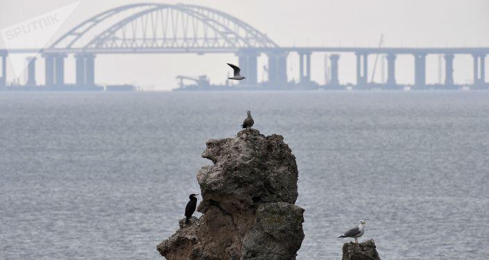 Widok na Most Krymski w budowie
