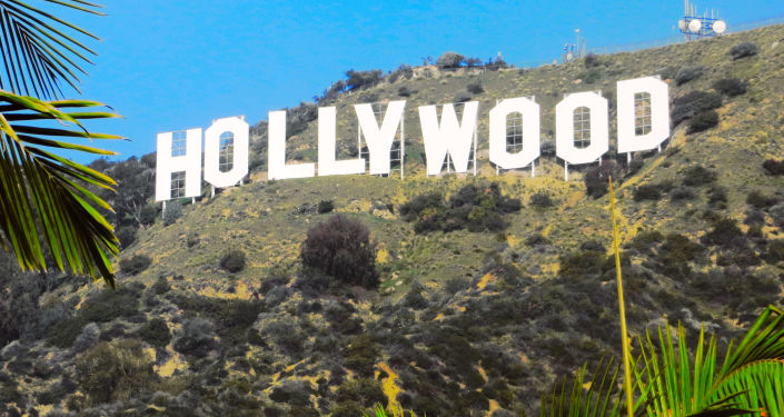 "Napis ""Hollywood na wzgórzach Hollywood Hills w Los Angeles"