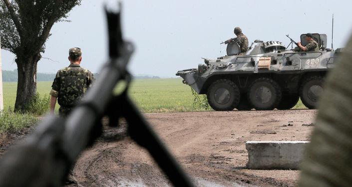 Ukraińska armia w strefie konfliktu na wschodzie Ukrainy. Zdjęcie archiwalne