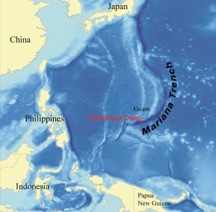 Lokalizacja Rowu Mariańskiego na mapie