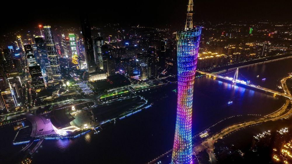 Wieża Canton Tower w Kantonie w Chinach