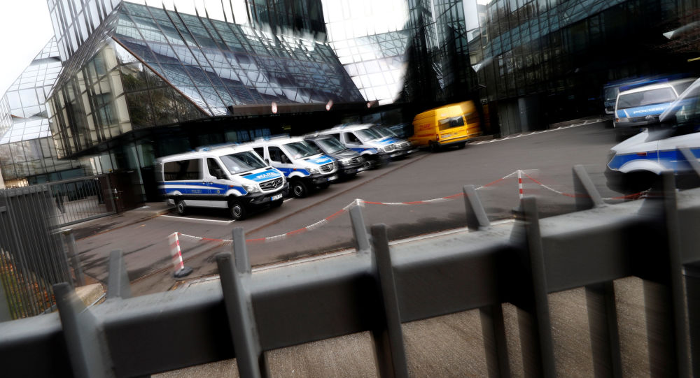 Policja w biurze Deutsche Banku we Frankfurcie nad Menem w Niemczech